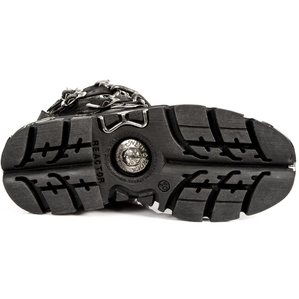 New Rock Unisexe 272-S1 Noir M/étallique R/éacteur Gothique Genou Haute Cuir Zip Boucle Bottes