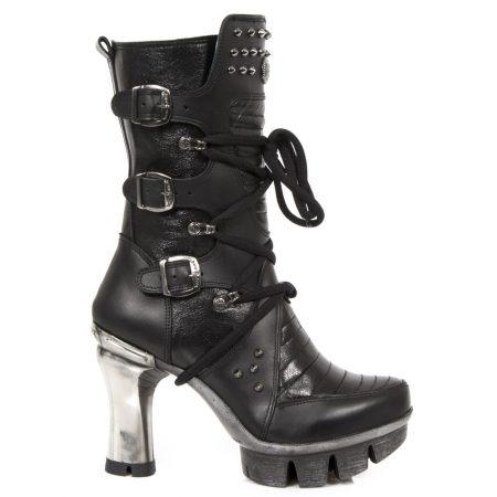 New Rock NEOTR 005S-25 Vintage Noir Gothique Rock Punk Femmes Bottes en cuir
